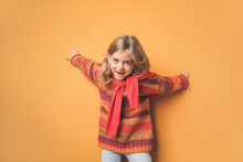 Cute Fashionable Girl On Color Background