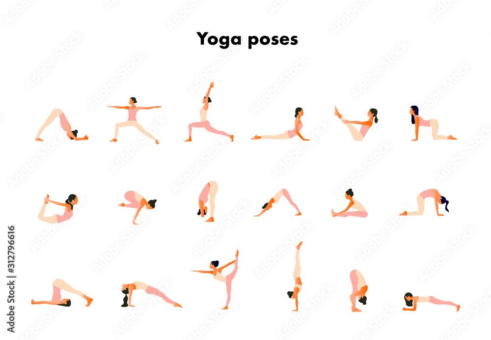 Fototapeta  Tiny women performing yoga poses. Women practicing asanas and pelvic floor exercises. Flat cartoon vector illustration isolated on white background.