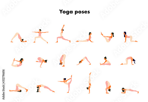 Fotografia Tiny women performing yoga poses
