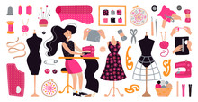 Vector Illustration With Brunette Girl Tailor In Workplace. Dressmaker Working At Sewing Machine In A Modern Flat Pink Style. Items And Materials For Sewing, Embroidery, Knitting