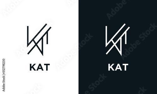 Photographie Minimalist line art letter KAT logo