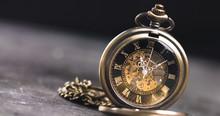 Antique Old Pocket Watch Dial Close-up. Vintage Hipster Clock Measuring Time.