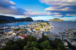 Aerial view of the colorful town of Alesund Norway