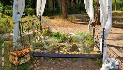 Verwunschen - Altes Bett im Baumwipfelpark Beelitz Canvas Print