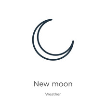 New Moon Icon. Thin Linear New Moon Outline Icon Isolated On White Background From Weather Collection. Line Vector Sign, Symbol For Web And Mobile