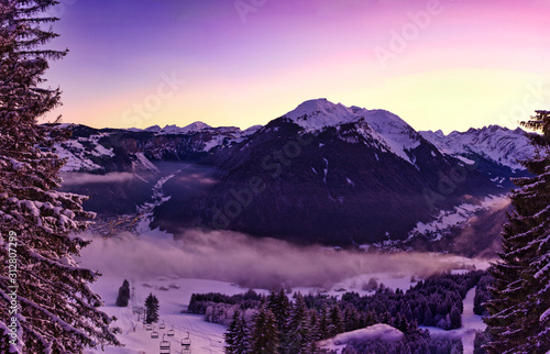 Fototapeta Beautiful Mountain View in Morzine, French Alpine Resort, France during Winter