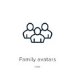 Family avatars icon. Thin linear family avatars outline icon isolated on white background from user collection. Line vector sign, symbol for web and mobile