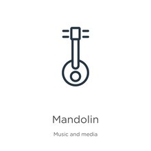 Mandolin Icon. Thin Linear Mandolin Outline Icon Isolated On White Background From Music Collection. Line Vector Sign, Symbol For Web And Mobile