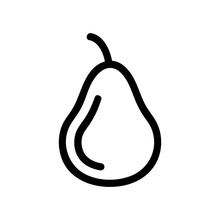Pear Icon Vector. A Thin Line Sign. Isolated Contour Symbol Illustration