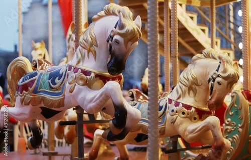 Fotografie, Obraz Children 's carousel in the form of horses