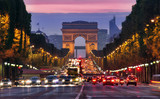 Fototapeta Fototapety Paryż - Champs Elysees and Arc de Triomphe in Paris France. night scene with car traffic