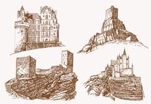 Graphical Vintage Set Of Medieval Castles,vector Sepia Illustration