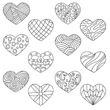 Vector Set Of Hand-drawn Doodle Hearts, Coloring Page