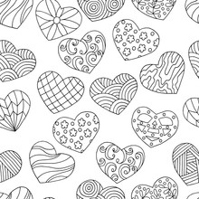 Vector Seamless Pattern Of Hand-drawn Doodle Hearts, Coloring Page