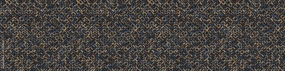 Fototapeta Dark pebble mosaic effect vectorbanner texture. Masculine geometric seamless border melange pattern. Hand drawn variegated irregular shapes background. Textured classic  brown hipster ribbon trim.
