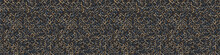 Dark Pebble Mosaic Effect Vectorbanner Texture. Masculine Geometric Seamless Border Melange Pattern. Hand Drawn Variegated Irregular Shapes Background. Textured Classic  Brown Hipster Ribbon Trim.