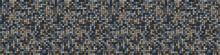 Dark Pebble Mosaic Effect Vectorbanner Texture. Masculine Geometric Seamless Border Melange Pattern. Hand Drawn Variegated Irregular Shapes Background. Textured Classic  Brown Hipster Ribbon Trim.