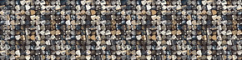 Canvastavla  Dark pebble mosaic effect vector border texture