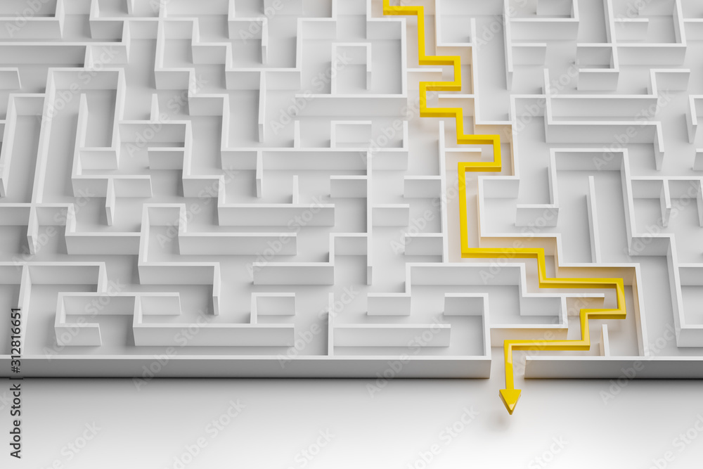 Fototapeta 3d rendering: Concept - solving a complex problem. White maze with yellow solution path with arrow. High key image shot from above