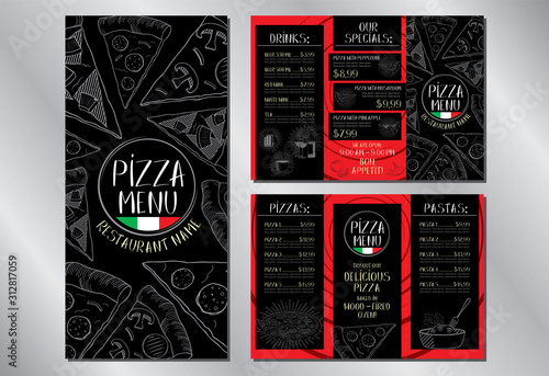 Photo Pizza restaurant menu flyer template (pepperoni, mushroom, hawaiian, pasta, drin