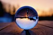 Lens ball creative photography, landscape reflection