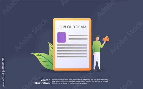 Cuadros en Lienzo  We're hiring join our team Online Recruitment vector illustration concept, woman