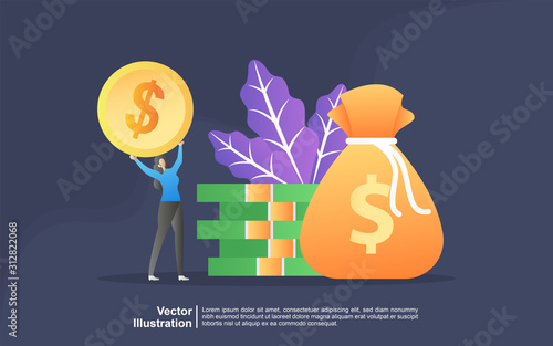 Obraz na plátne Illustration concept of Money transfer from and to wallet vector design