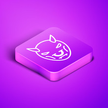 Isometric Line Mask Of The Devil With Horns Icon Isolated On Purple Background. Purple Square Button. Vector Illustration