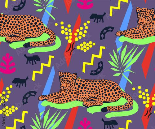 Obraz na plátně Vector background hand drawn exotic wild animals