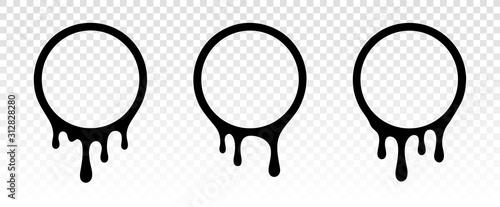 fototapeta na lodówkę Dripping circle frame. Frame template. Paint dripping. Dripping liquid. Paint flows. Current paint, stains. Current drops. Current inks. Vector illustration. Color easy to edit. Transparent background