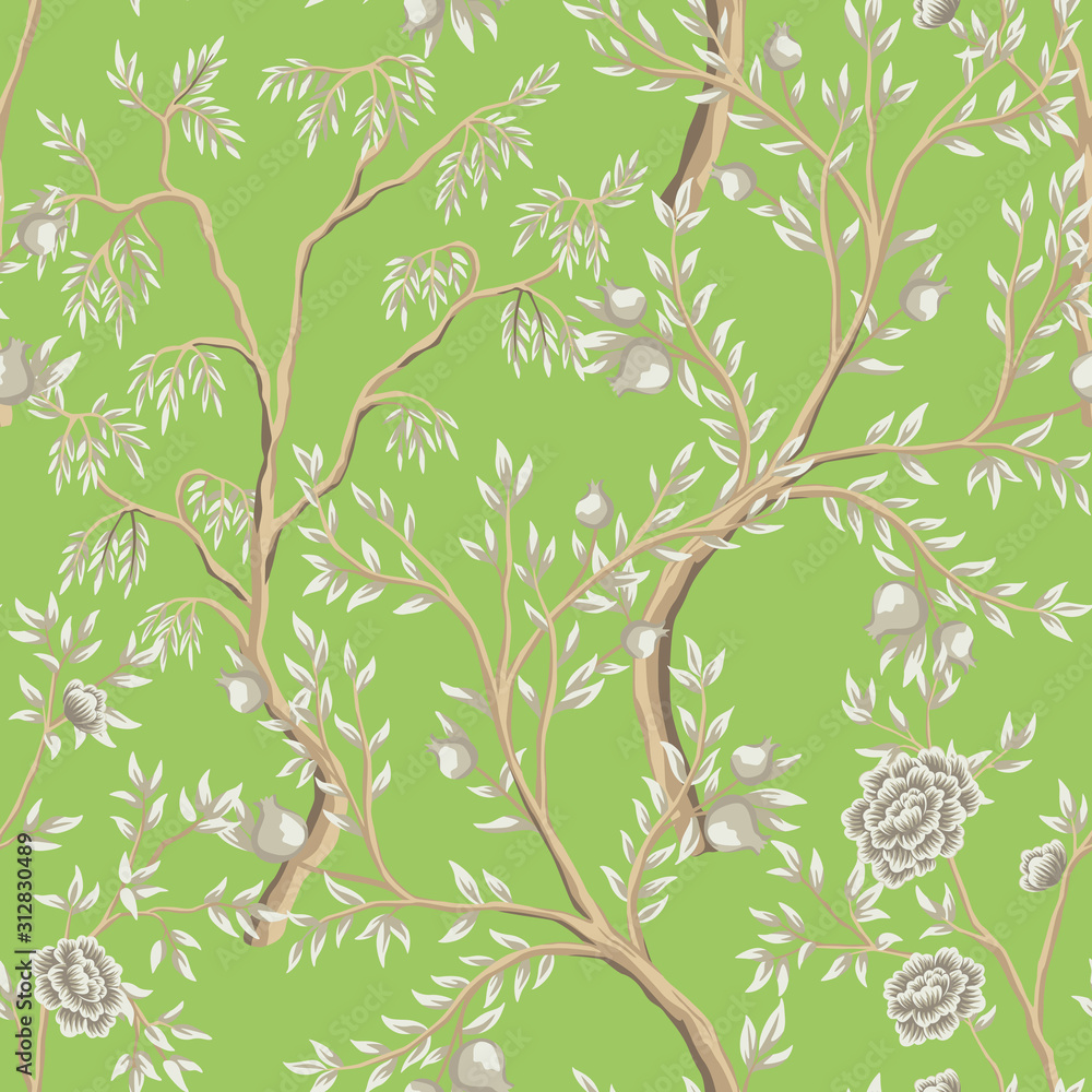 Vintage garden fruit tree floral seamless pattern green background. Exotic chinoiserie wallpaper.
