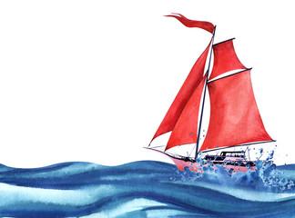 Lagana ružičasta apstraktna jedrilica s crvenim jedrima i crvenom zastavom koja se vijori. Jedrenje među oceanskim valovima i sprej. Brod na moru. Ručno izvučena ilustracija akvarela. Izolirano