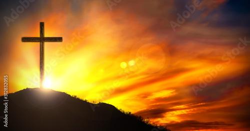 Fototapeta Cross At Sunset