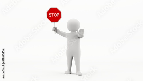 3D man holding a stop sign and directing traffic Canvas Print