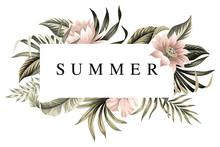 Tropical Summer Slogan Palm Leaves Floral, Lotus Flower Vintage Illustration. Exotic Frame Print.