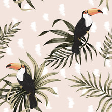 Tropical Vintage Exotic Bird Toucan, Palm Leaves Floral Seamless Pattern Pink Background. Exotic Jungle Wallpaper.