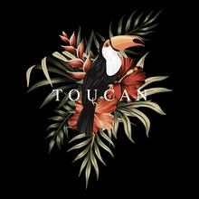 Tropical Toucan Slogan Floral Palm Leaves, Hibiscus Flowers, Parrot Vintage Illustration. Exotic Summer Print.
