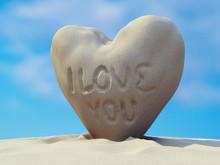 I Love You Sand Heart