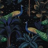 Tropikalna noc vintage paw ptak, palmy, roślin, gwiazdy niebo kwiatowy wzór czarne tło. Tapeta egzotyczna ciemna dżungla. - 312836074