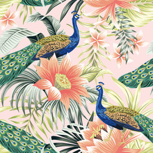 Tropical Vintage Peacock Bird, Lotus Flower, Palm Leaves Floral Seamless Pattern Pink Background. Exotic Jungle Wallpaper.