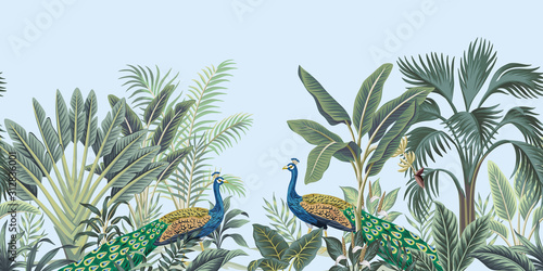 Fotografia Tropical vintage peacock bird, palm tree and plant floral seamless border blue background