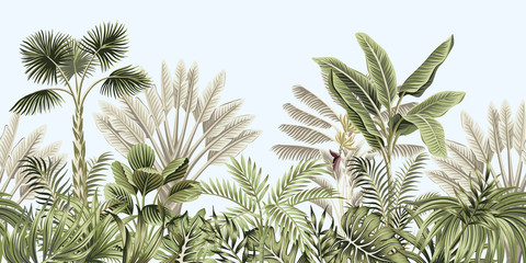 Fototapeta Malarstwo Tropical vintage botanical landscape, palm tree, banana tree, plant floral seamless border blue background. Exotic green jungle wallpaper.