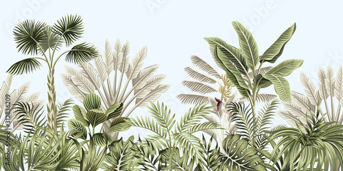 Foto Tropical vintage botanical landscape, palm tree, banana tree, plant floral seamless border blue background