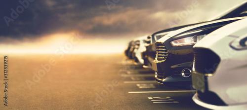 Obraz open-air car dealership with prestigious cars - fototapety do salonu