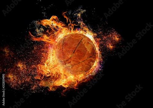 Photo 炎に包まれたバスケットボール