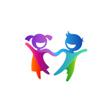 Colorful Two Kids Play Logo Design, Creative Child Logo Template, Modern Children Education Logo, Happy Boy And Girl Holding Hands And Laughing Vector Illustration
