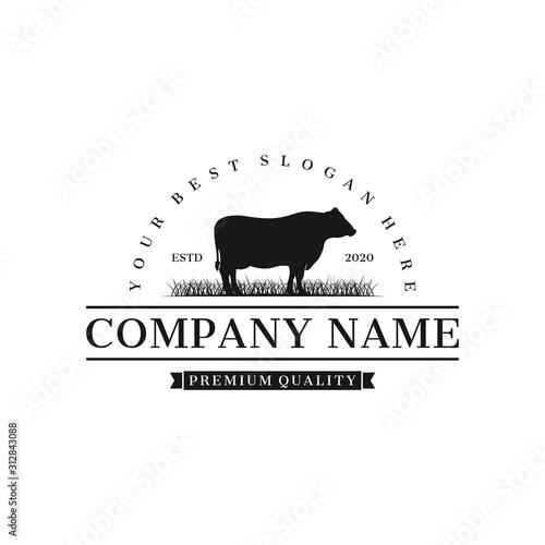 Photo cattle angus farm logo inspiration, illustration vector eps 10