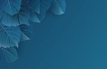Tropical Monstera Laeves Classic Blue Pantone