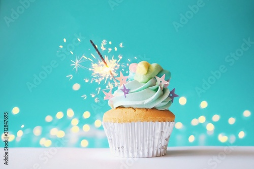 cupcake with icing and sprinkles on white background Canvas Print