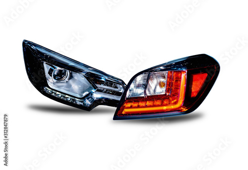 Headlights and taillights Separated from the technology background Car headlight Wallpaper Mural